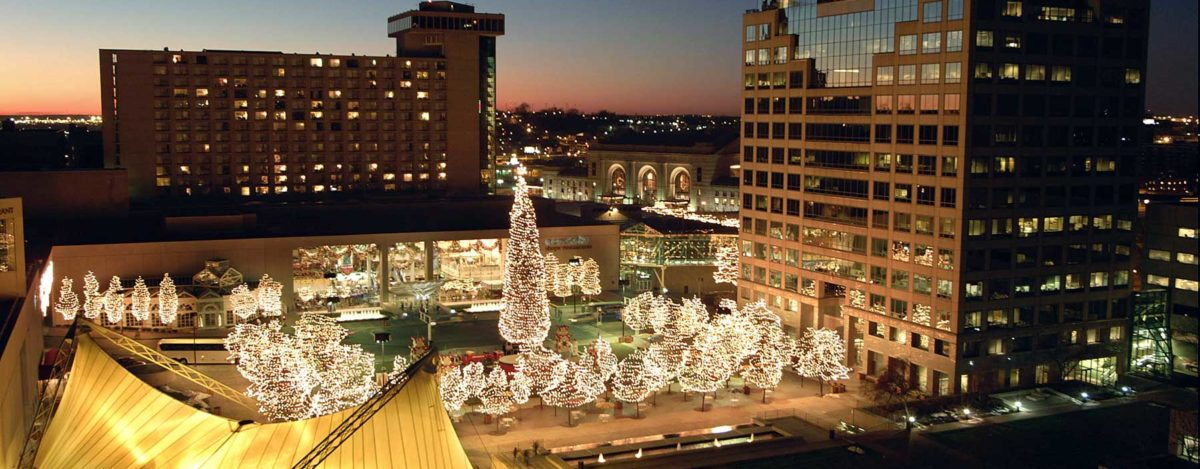 Crown Center Christmas Aerial View