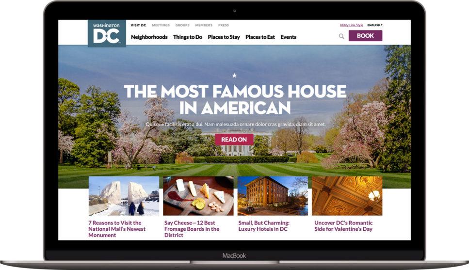 MacBook showing Washington.org homepage