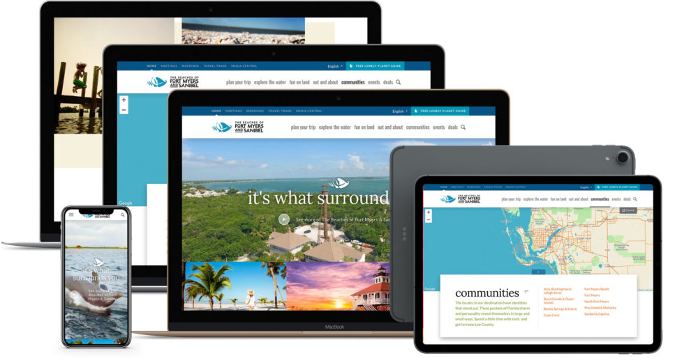The Fort Myers/Sanibel Website on a variety of devices