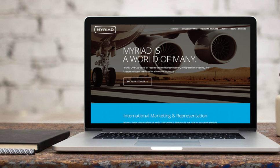 Myriad Marketing Homepage on a MacBook